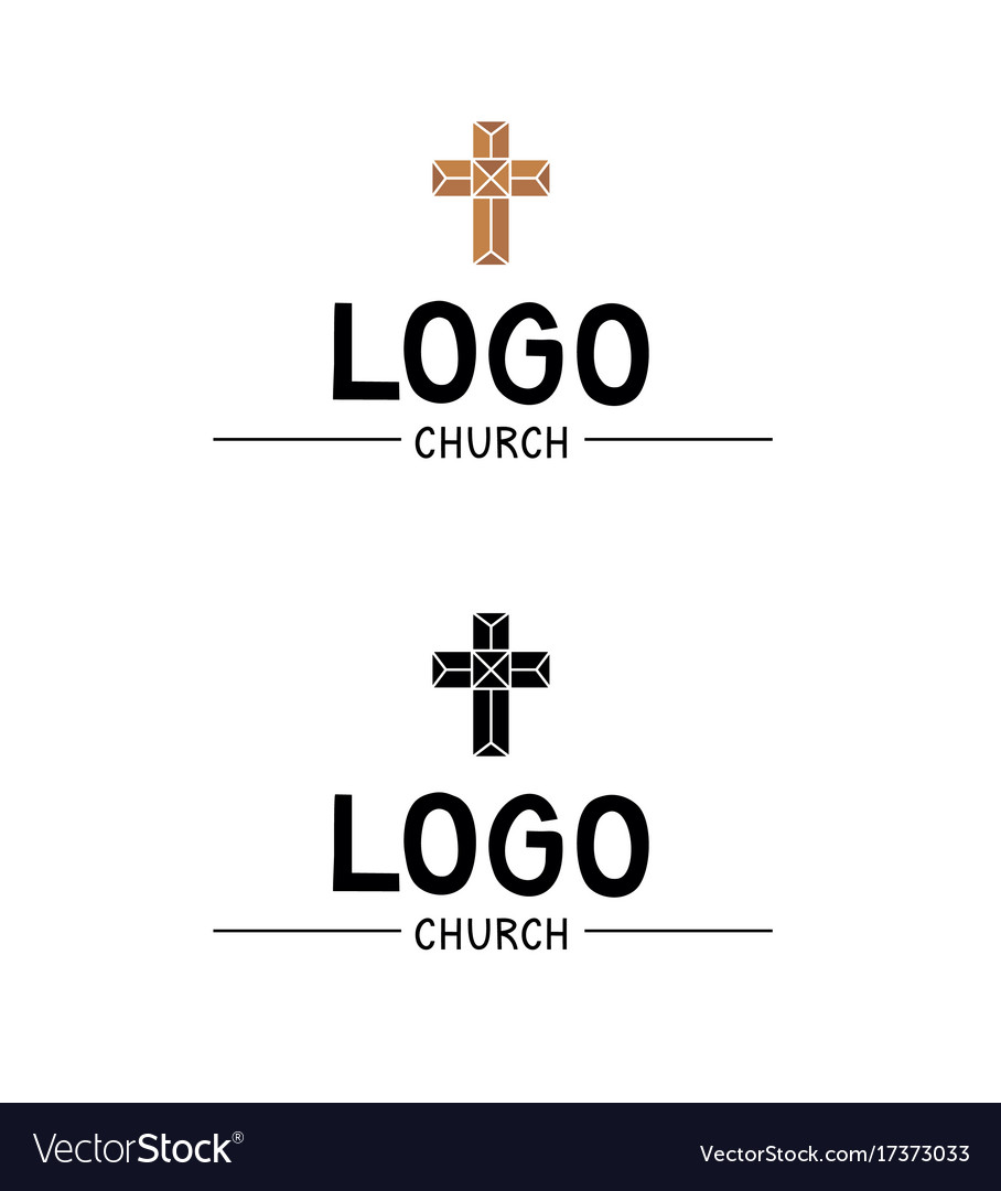 The church logo with a cross in stained glass vector image