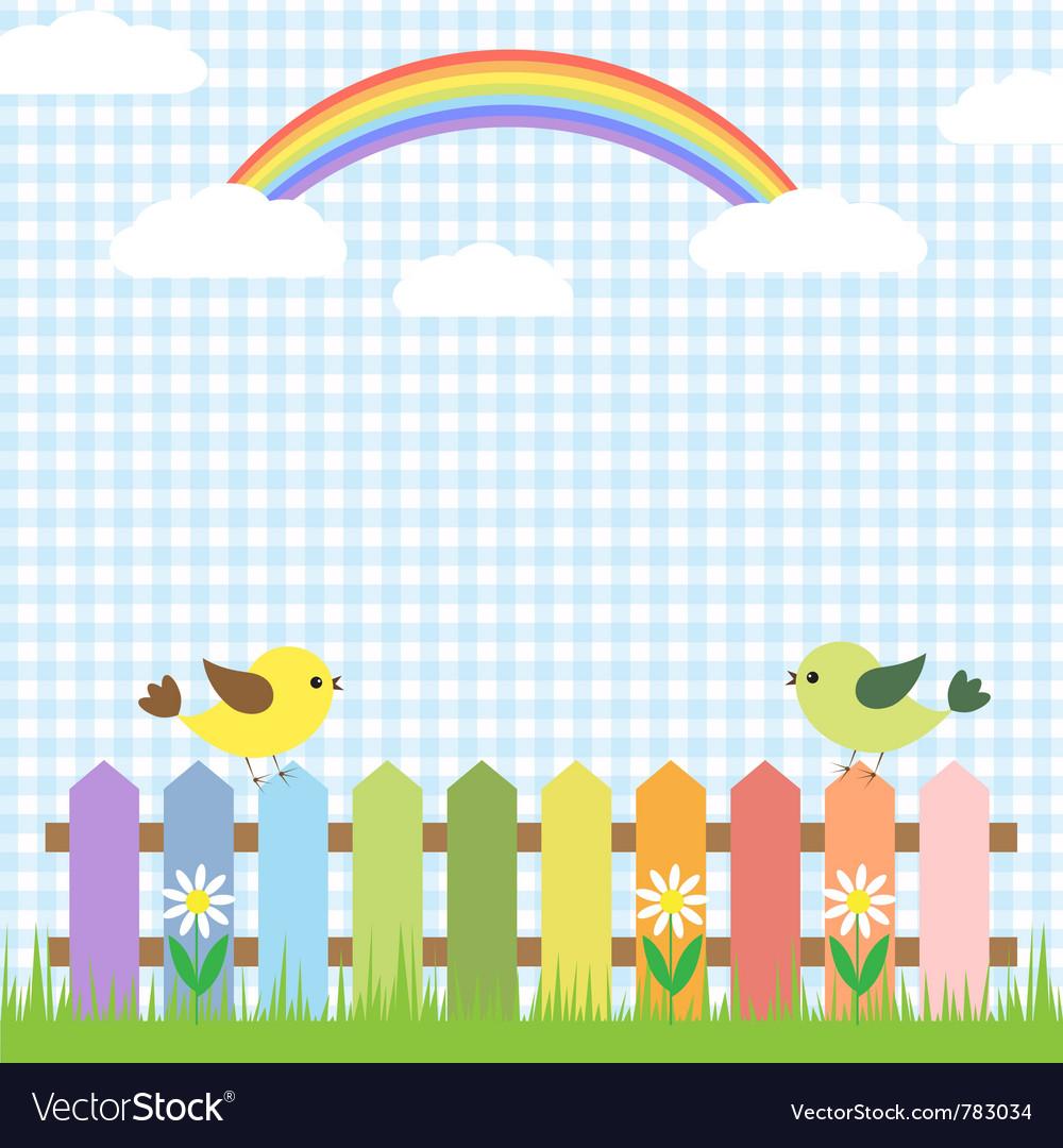 Cute birds and rainbow Vector Image