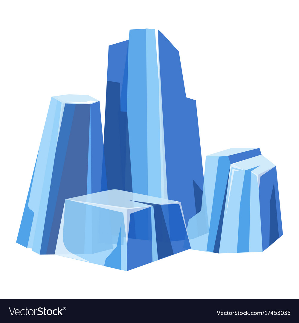 Cold massive transparent glaces with blue tint vector image