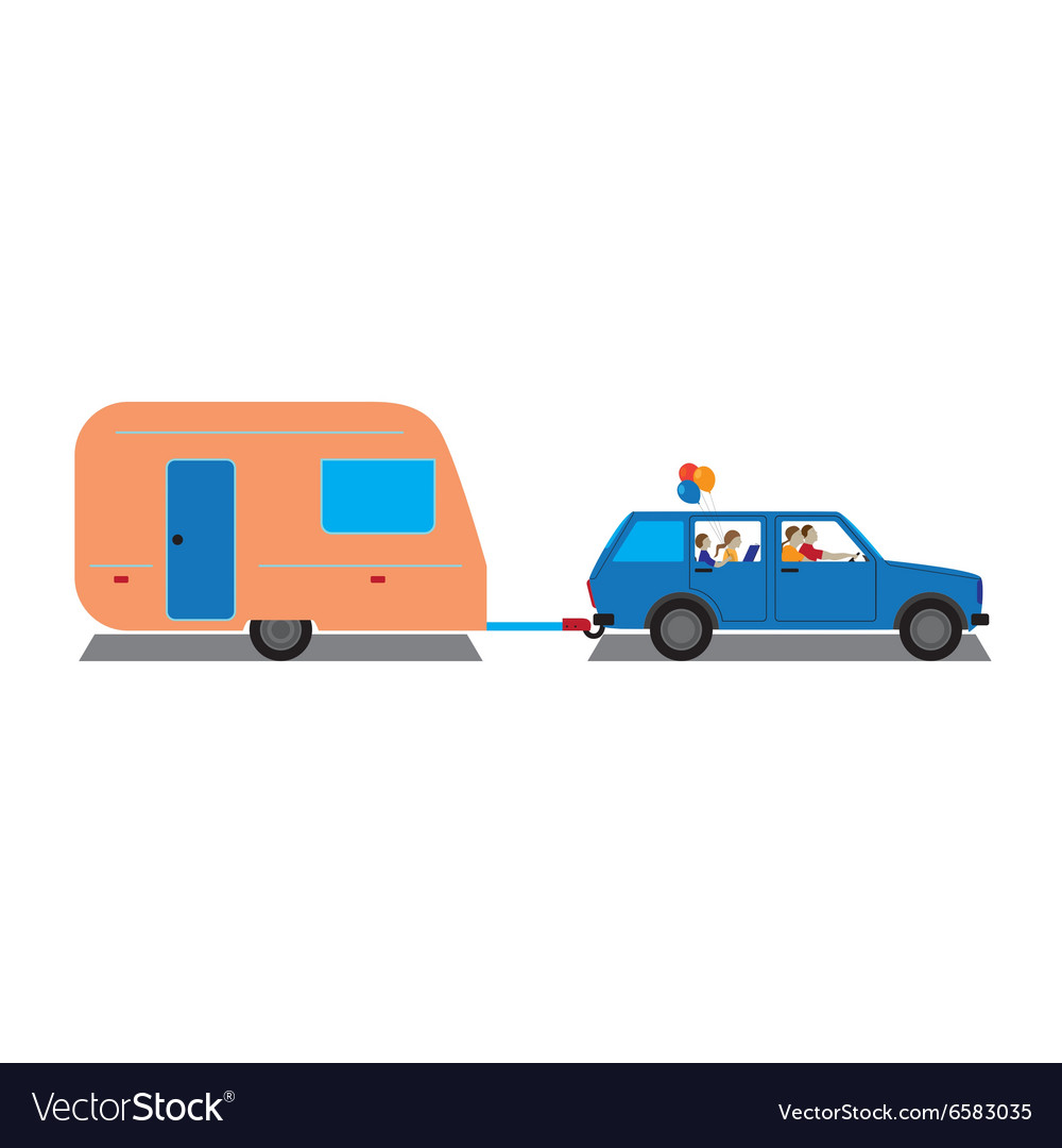 Family traveling by car with trailer vector image