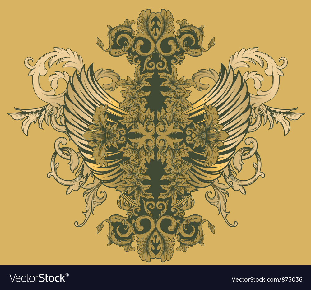 Vintage floral with wings Vector Image