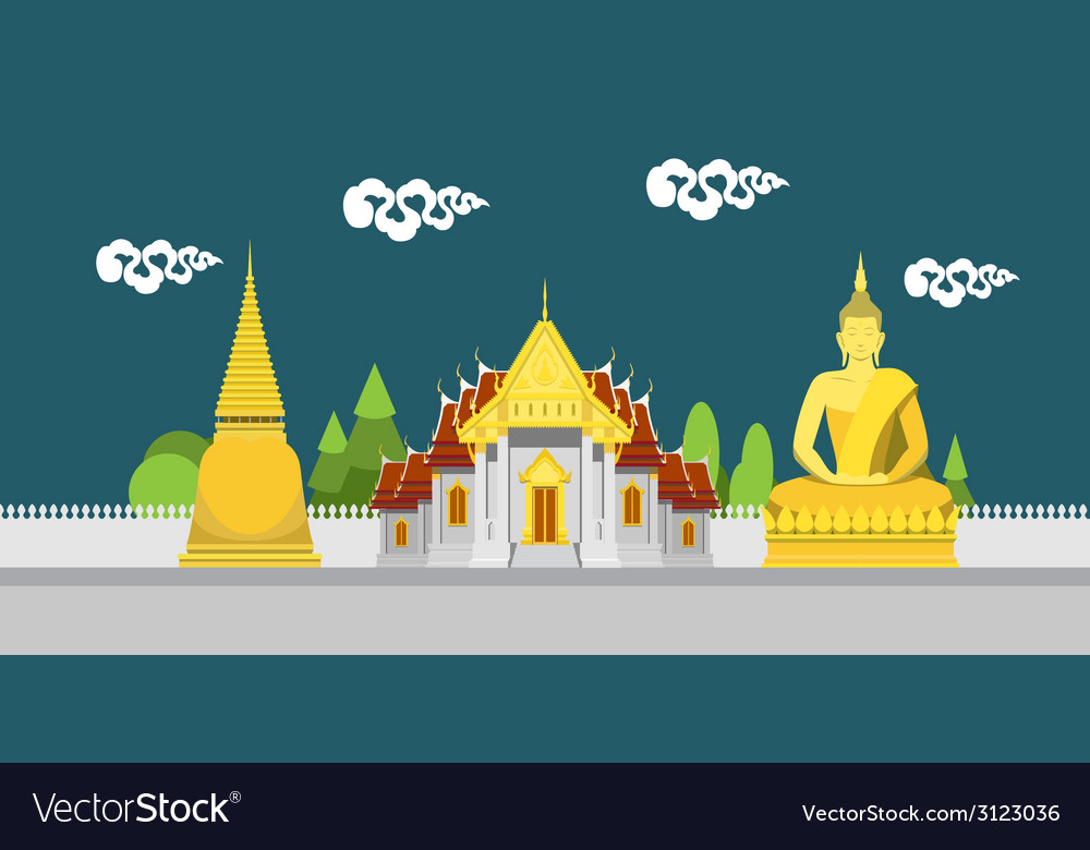 Flat Design Landscape Of Thailand Temple Vector Image - Temple landscape architecture