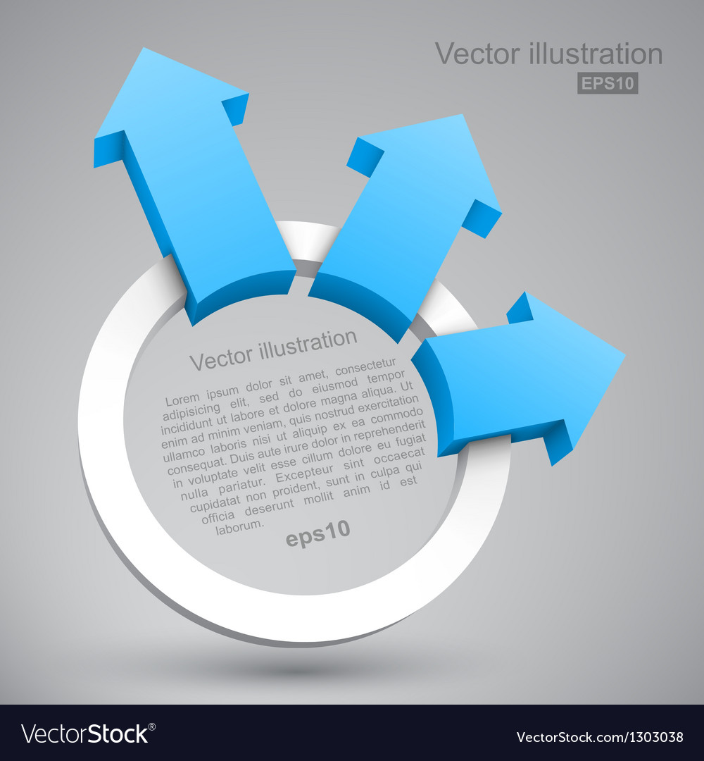 Blue arrows with circle 3D vector image