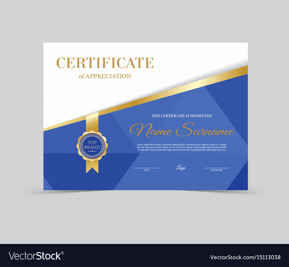Template certificate of appreciation royalty free vector template certificate of appreciation vector image 1betcityfo Choice Image