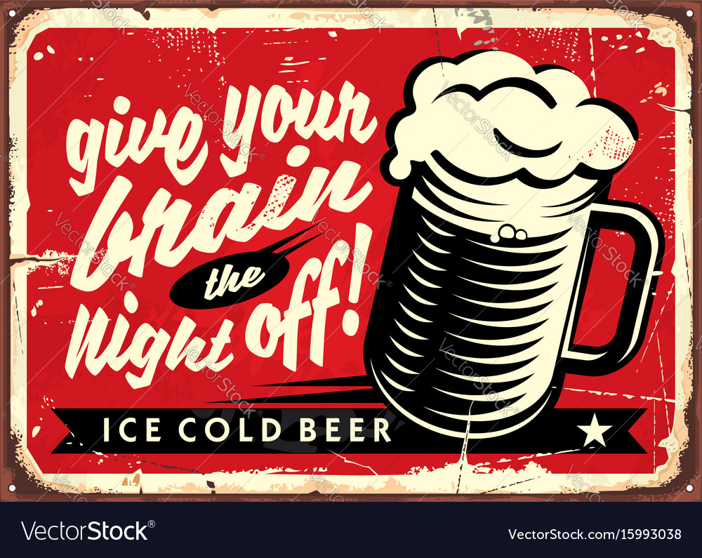 Vintage with beer glass vector image
