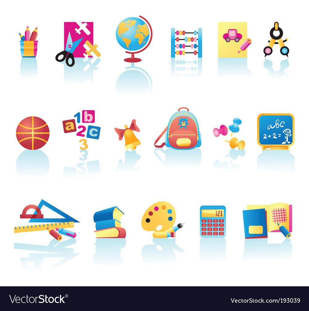 School supplies icons vector image
