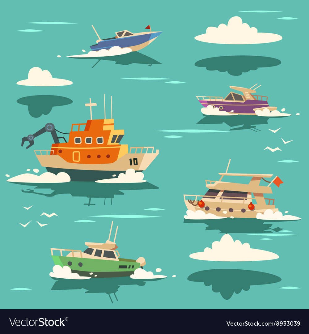 Marine background with ships vector image