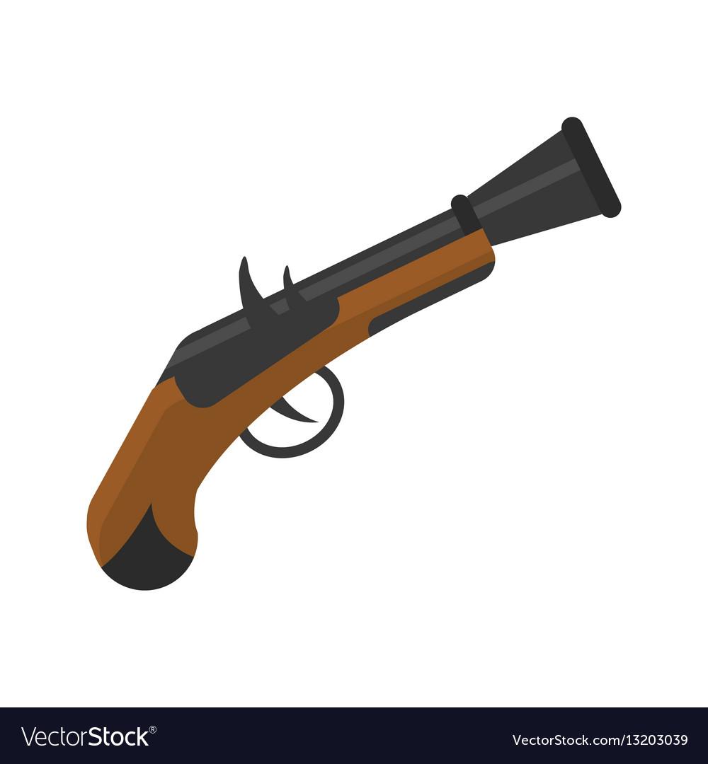 Old pistol gun icon vector image