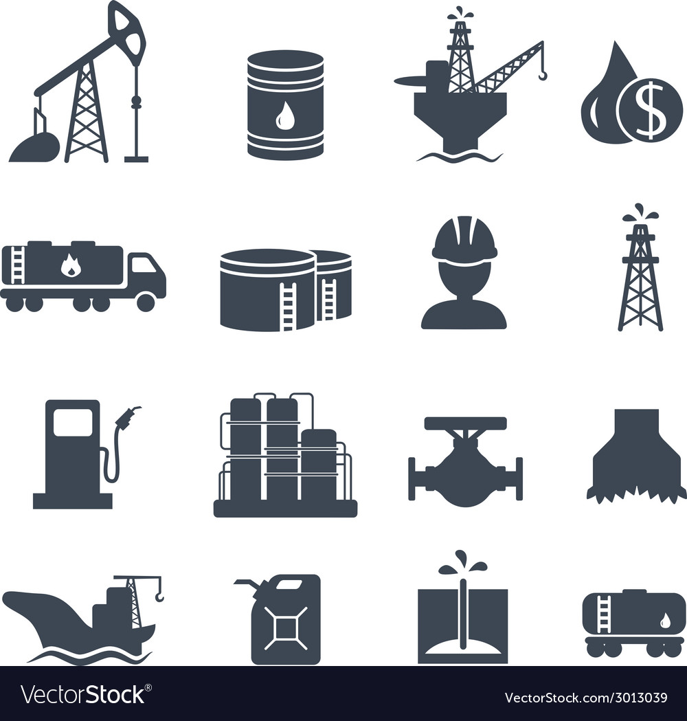 Set of oil and gas grey icons Petroleum industry vector image