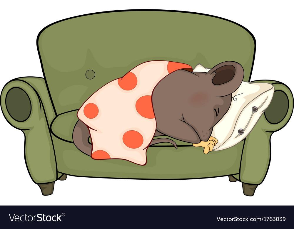 Sleeping mouse cartoon vector image