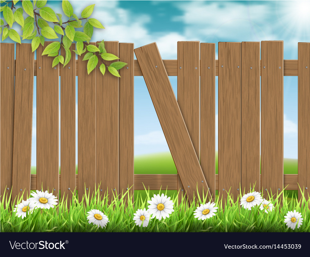 Wooden fence broken plank vector image