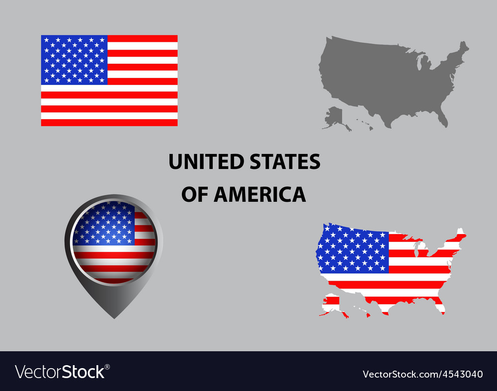 Map of USA and symbol vector image