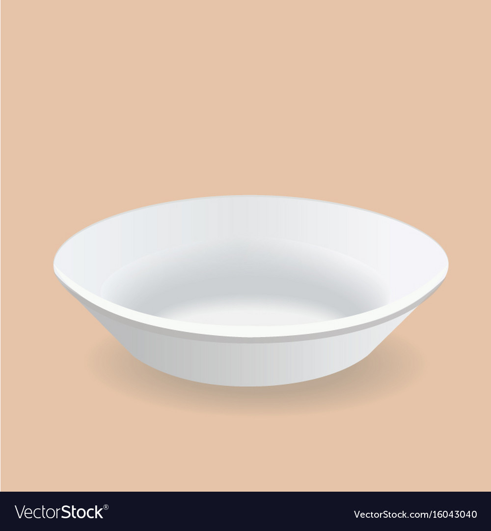 White plate deep design vector image