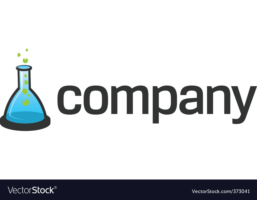 Flask logo for scientific tech vector image