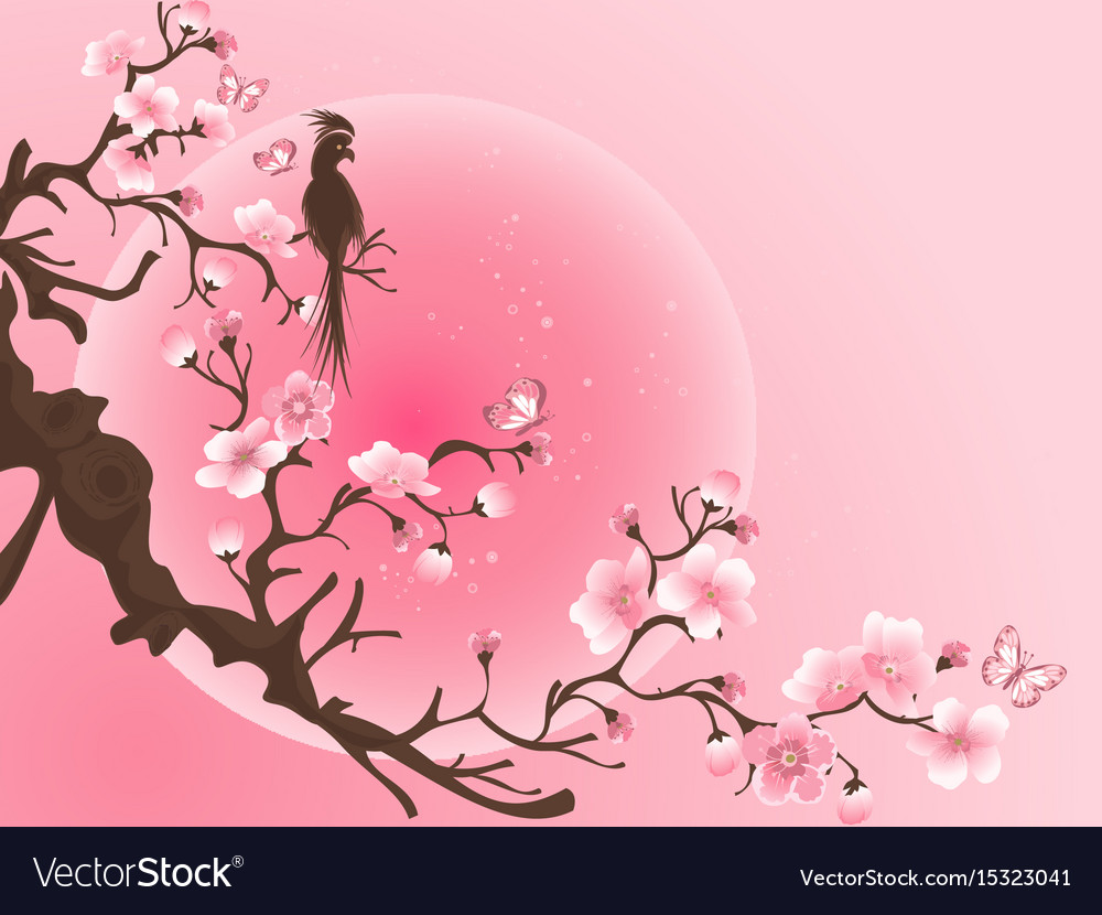 Cherry Blossom Tree With Bird Anese Art Vector Image