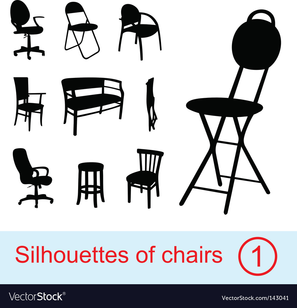 Collection of different chairs silhouettes vector image