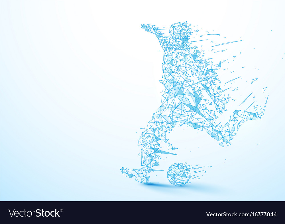 Abstract low polygon football player kicking the vector image