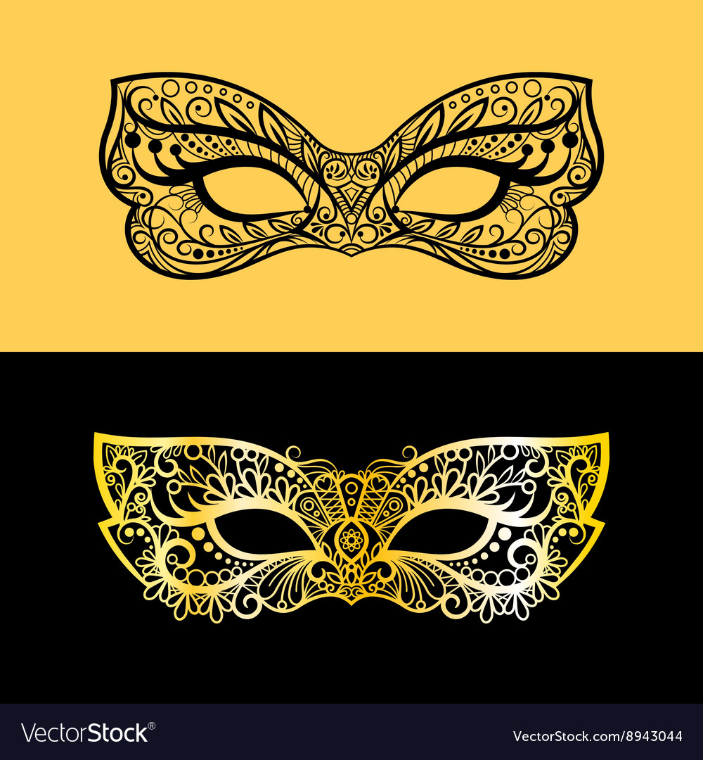 Gold lace venetian mask vector image