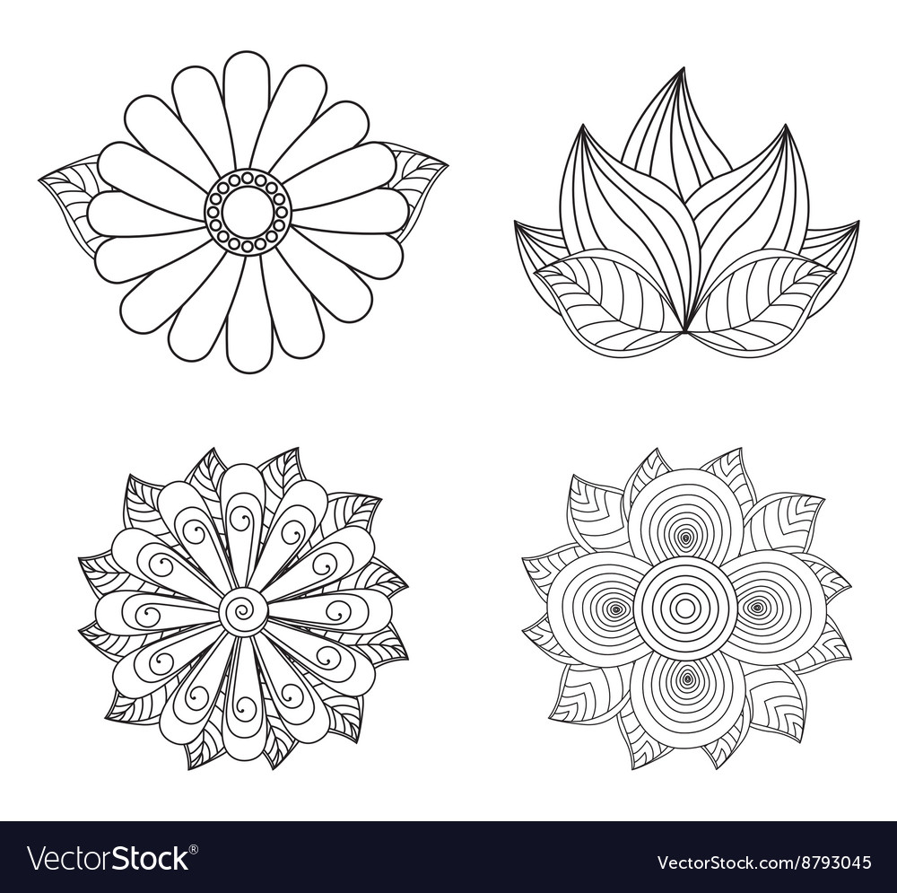 floral design doodle white royalty free vector image