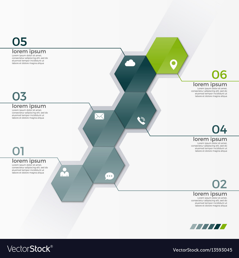 Infographic template with 6 hexagons vector image