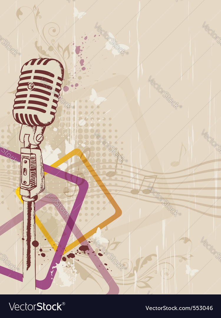 Retro music background with microphone and floral vector image