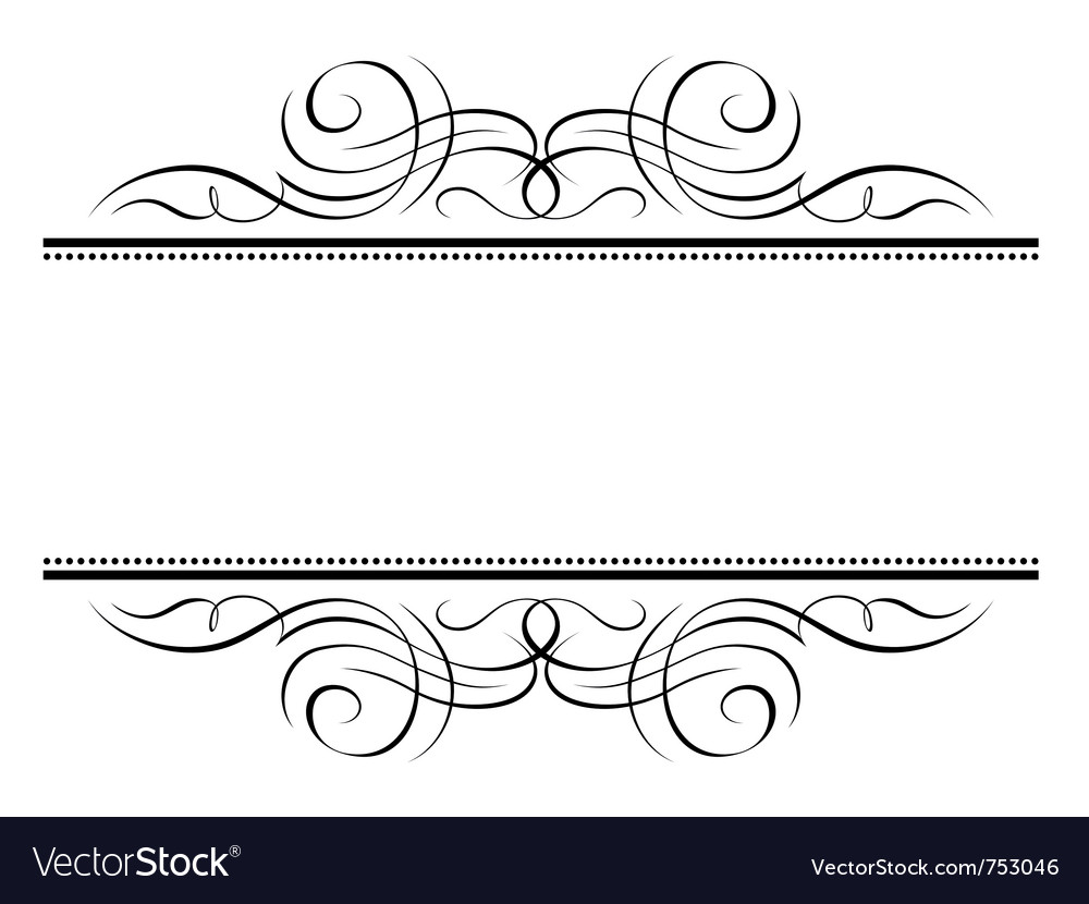 Calligraphy vignette ornamental penmanship decorat vector image