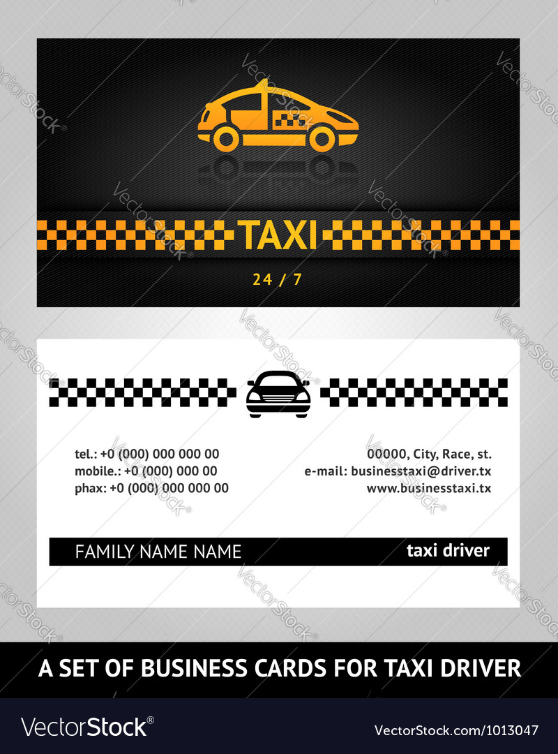 Business cards taxi cab vector image