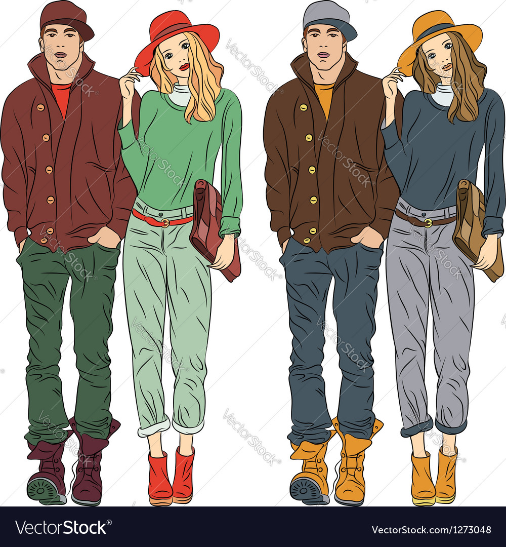 Fashion stylish guy and girl in spring clothes vector image