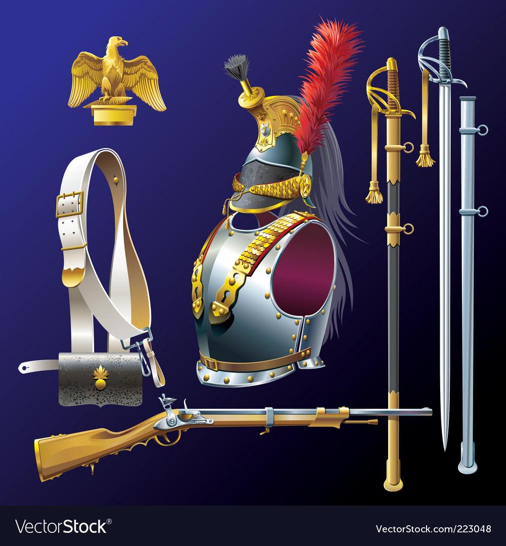 Napoleonic cuirassiers armament vector image