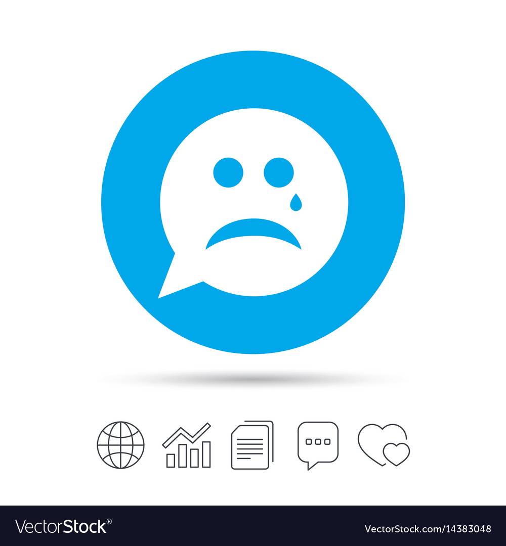 Sad face with tear sign icon crying symbol vector image
