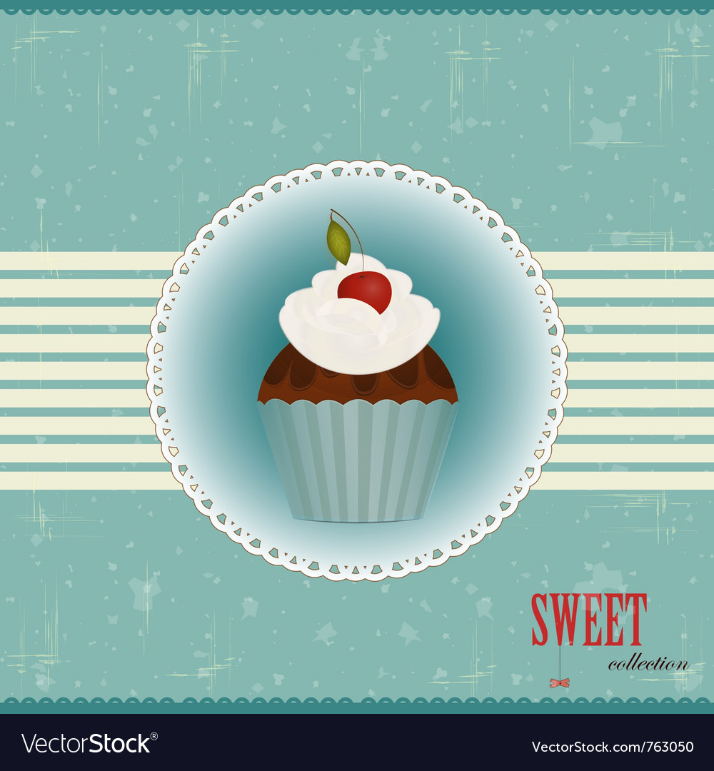 Vintage chocolate cake vector image
