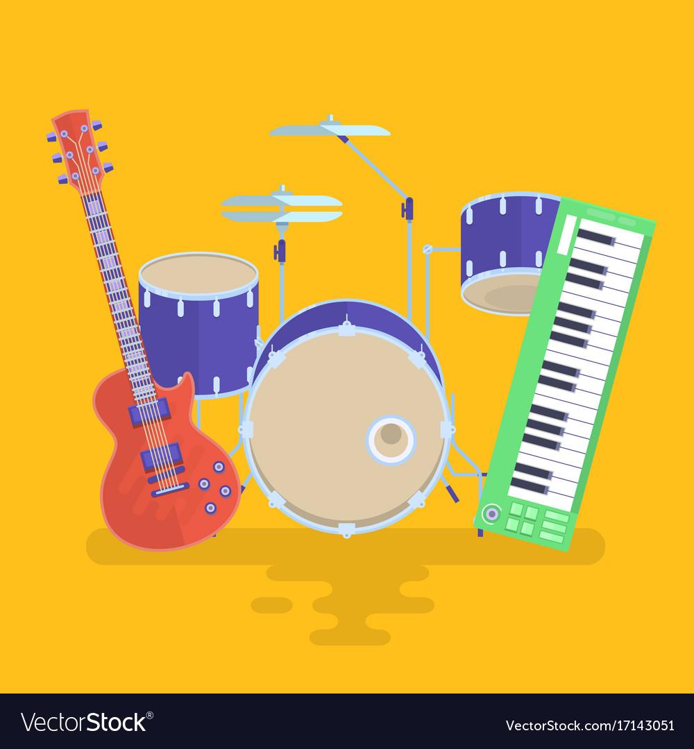 Musical instruments set guitar drums rock band vector image