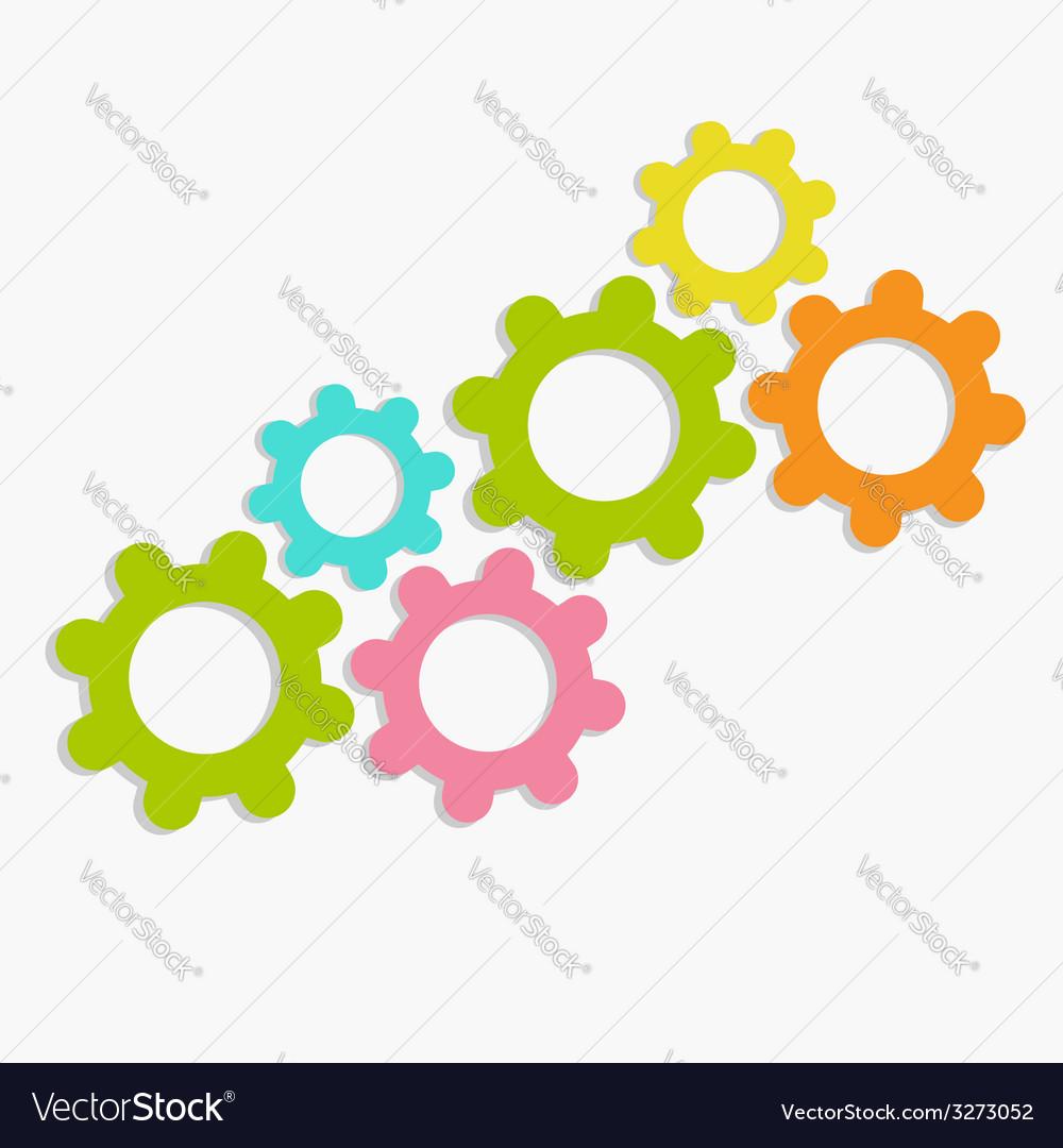 Colorful cogwheel gear set Flat design vector image