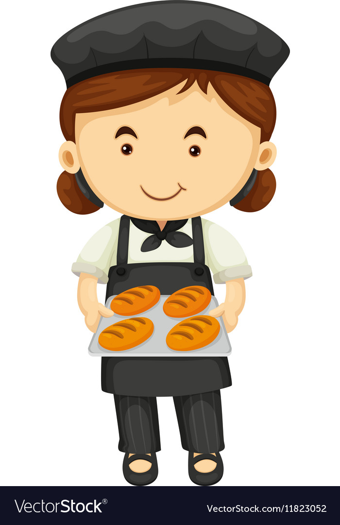 Female baker in black apron and hat vector image