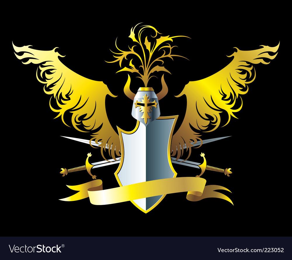 Golden wings vector image