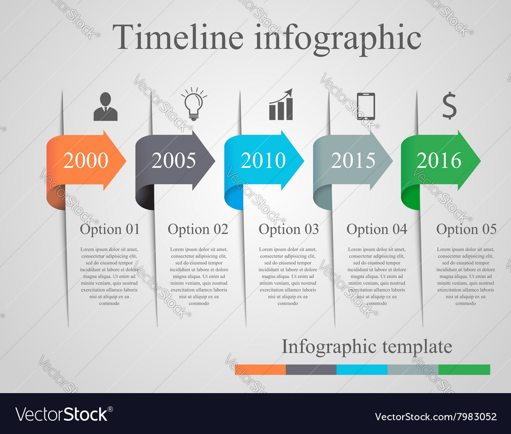 Infographics Arrow Timeline Template Royalty Free Vector - Free timeline infographic template