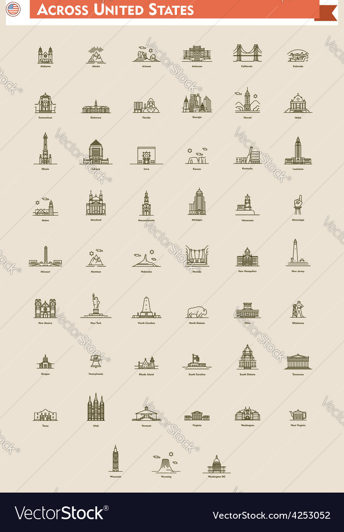 United States landmarks set vector image