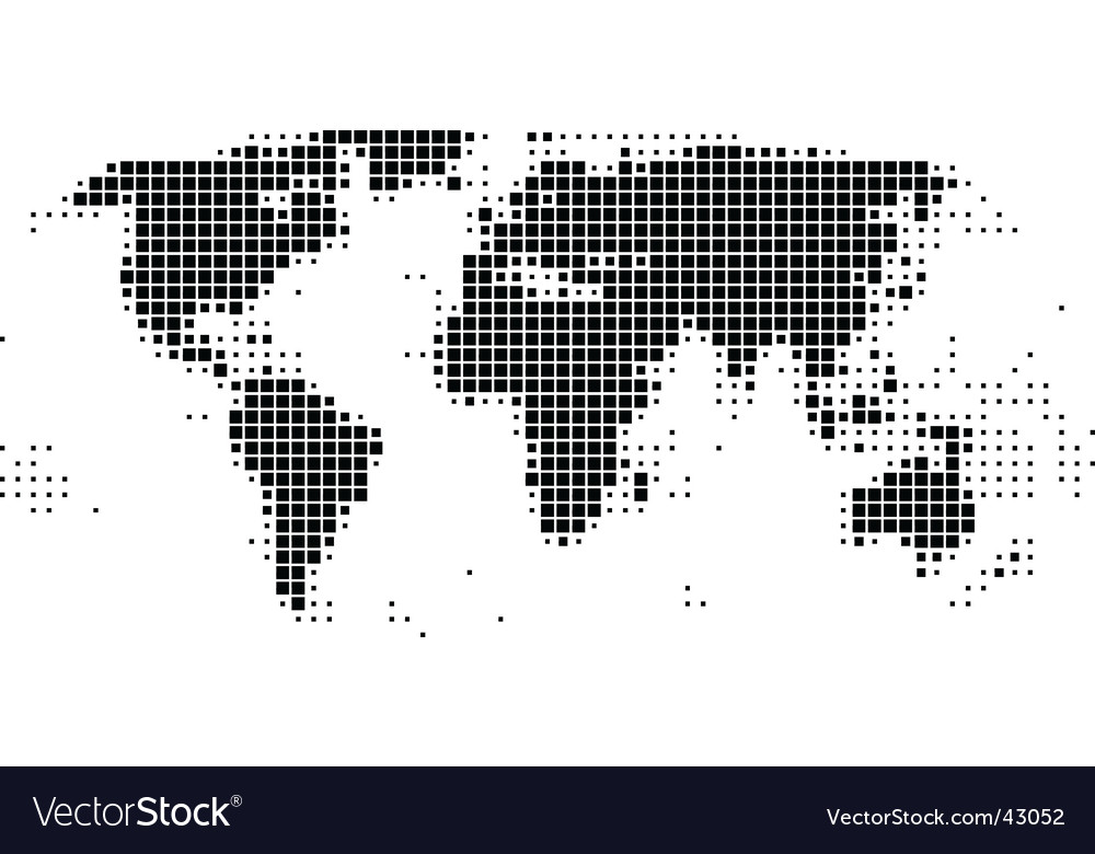 World map in squares vector image
