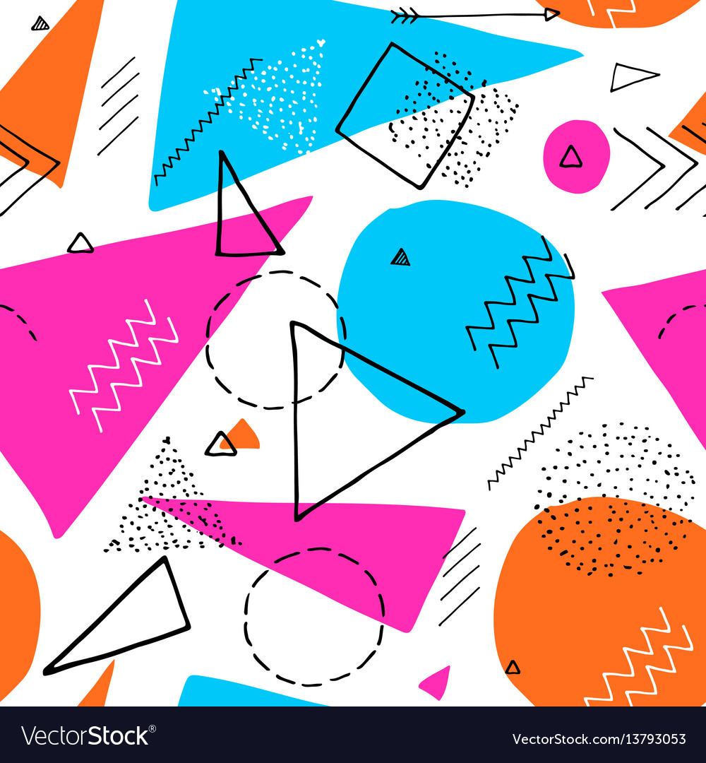 Memphis design 80s geometric style seamless vector image