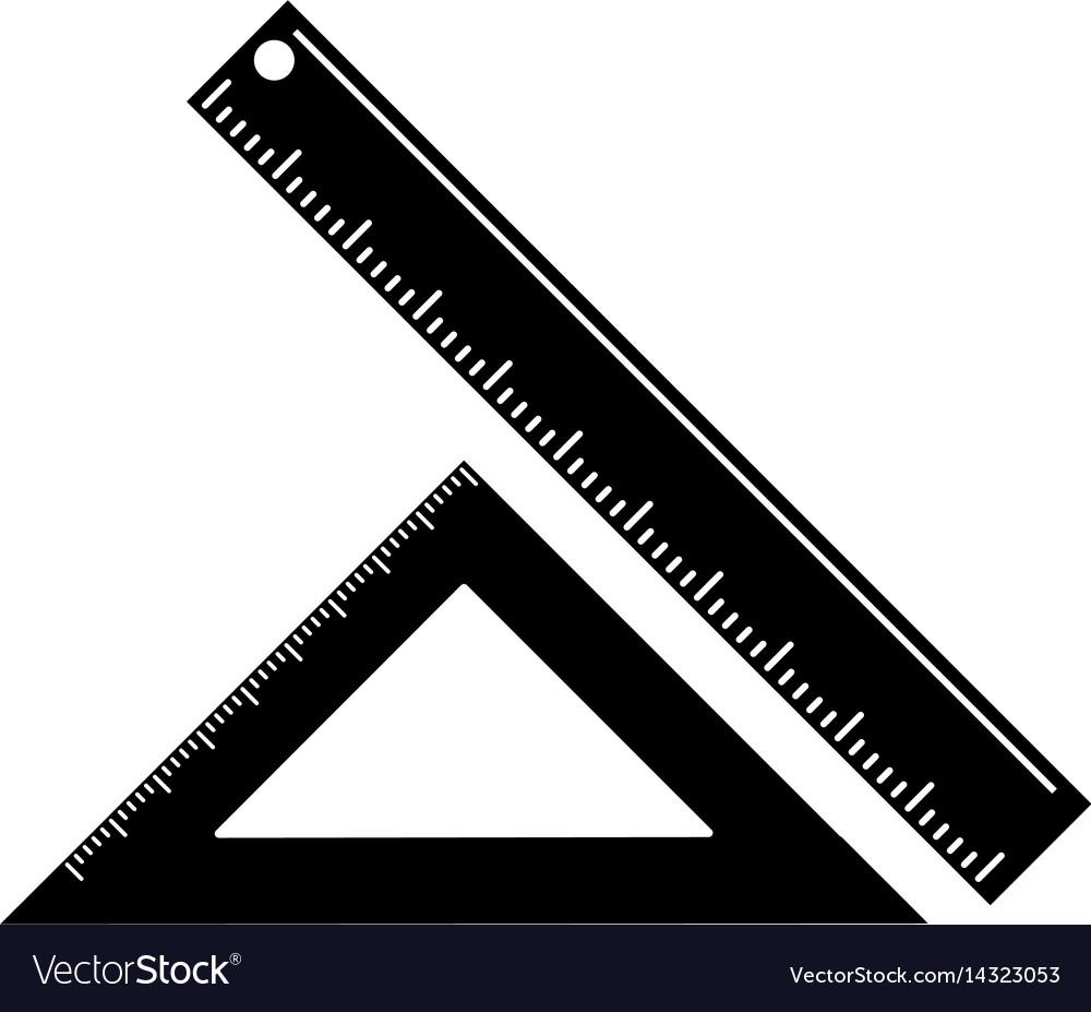 Triangle ruler measuring school pictogram vector image