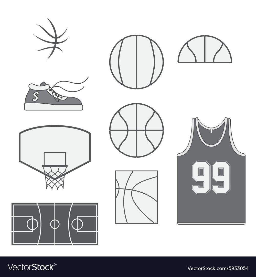 Set of Basketball vintage Design Elements vector image