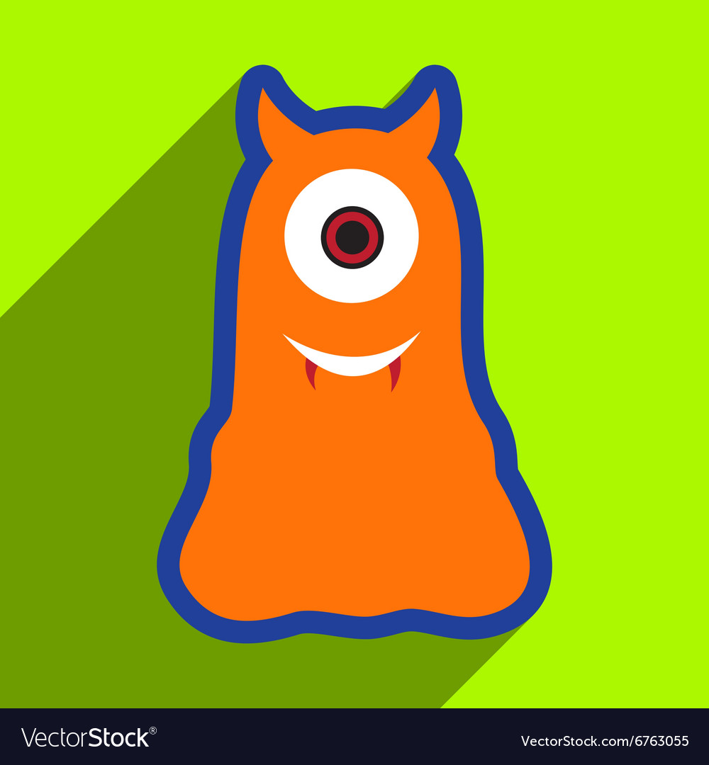 Flat with shadow Icon cyclops monster on the