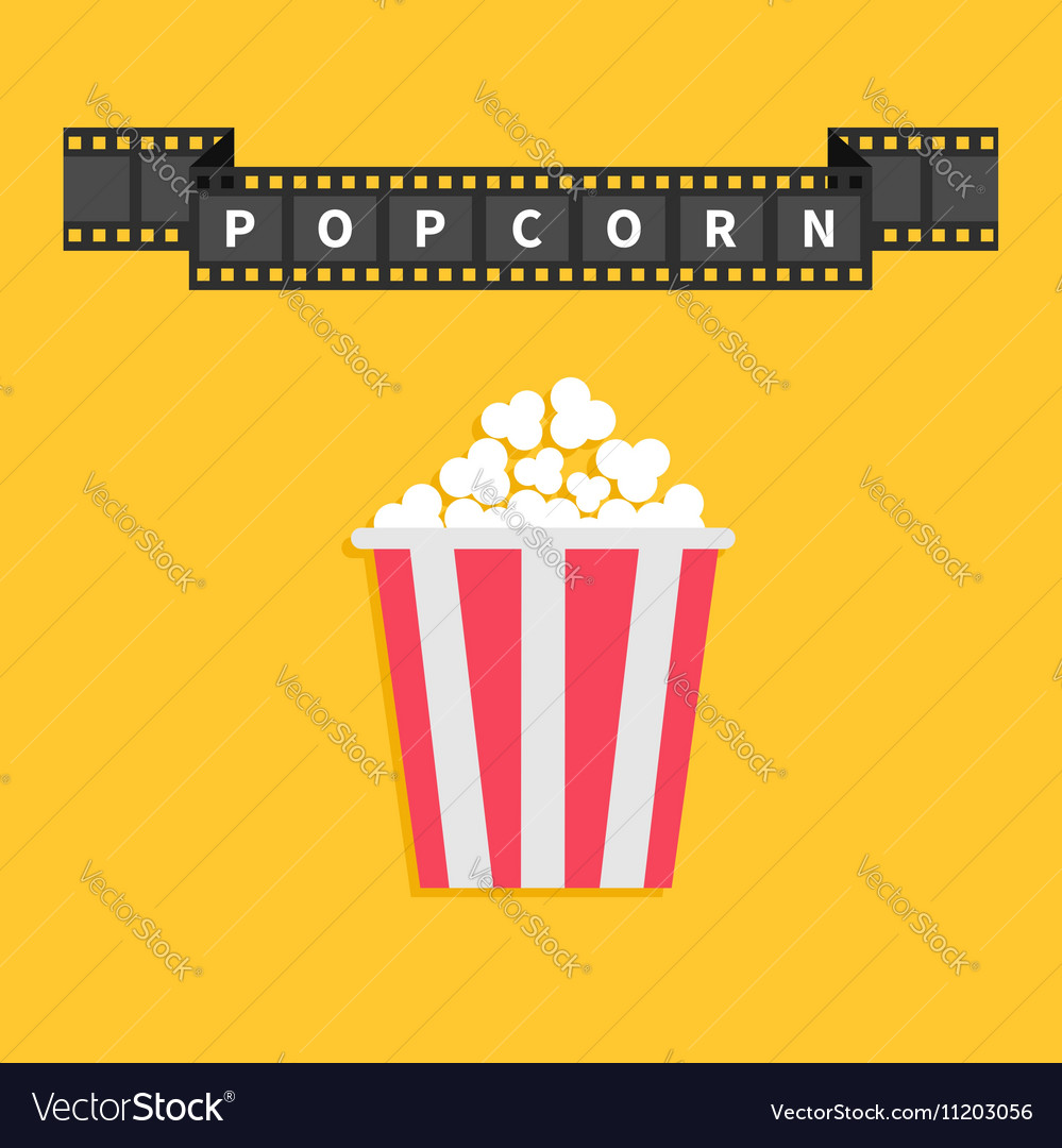 Film strip ribbon line with text Popcorn Red white vector image