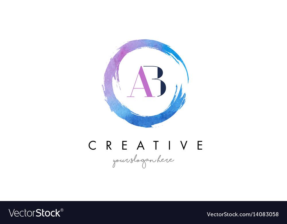 Ab letter logo circular purple watercolor brush vector image