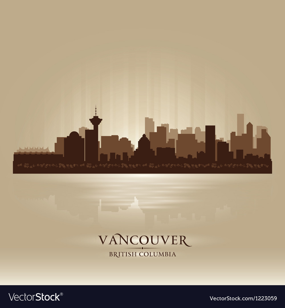 Vancouver British Columbia skyline city silhouette vector image