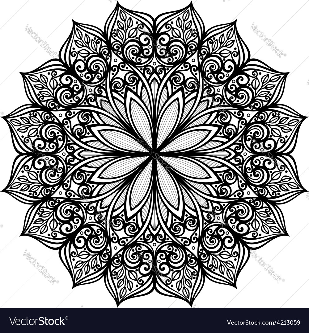 Deco symmetrical circle design vector image