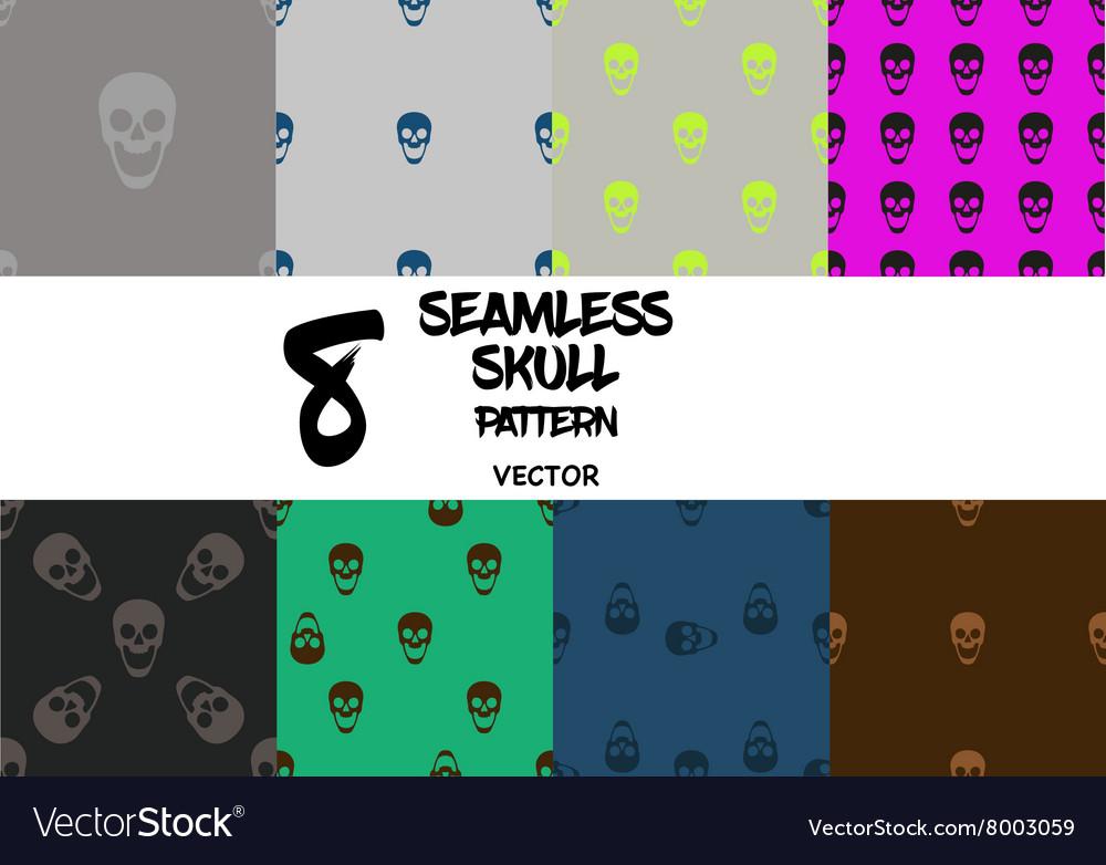 Set of skull seamless pattern vector image