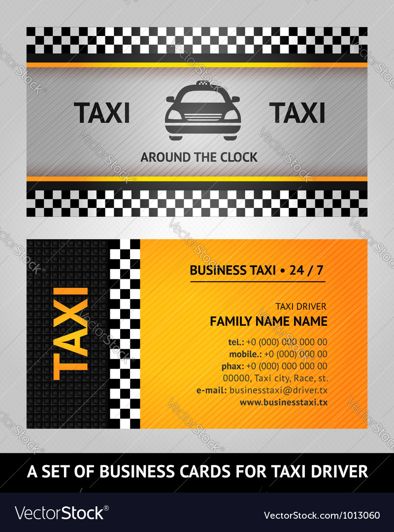 Business cards taxi Royalty Free Vector Image - VectorStock