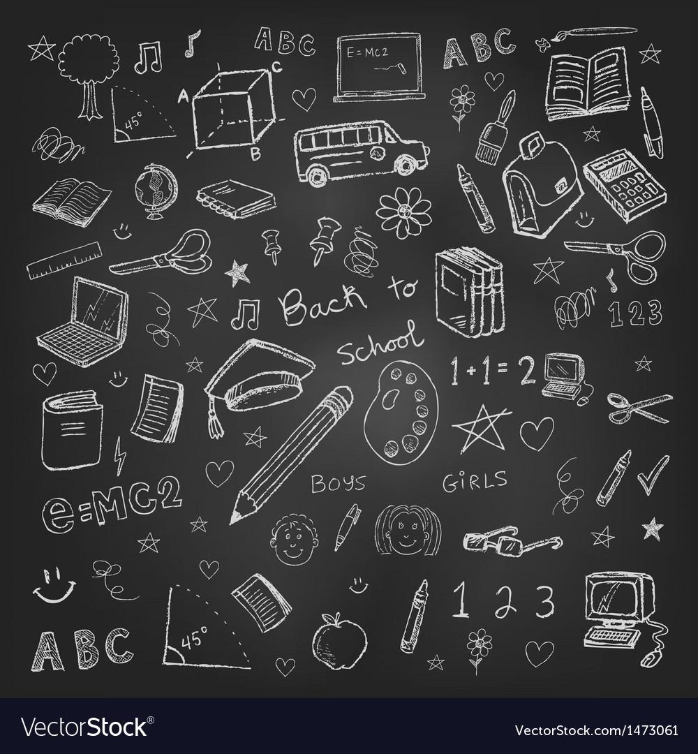 Back to school doodles in chalkboard background vector image