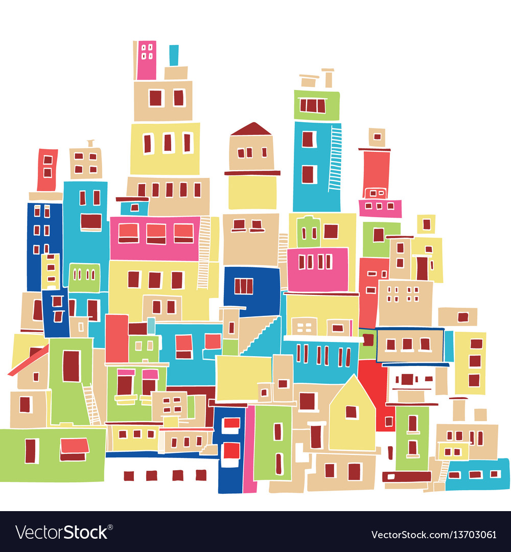 Color hindu urban architectural style vector image